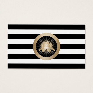 Yoga-modernes GoldLotus-Logo-schwarze u. weiße Visitenkarten
