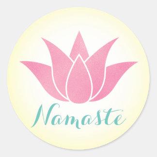 Yoga Namaste Lotos-Blume Runder Aufkleber