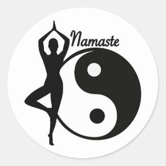 Yoga Namaste Runder Aufkleber