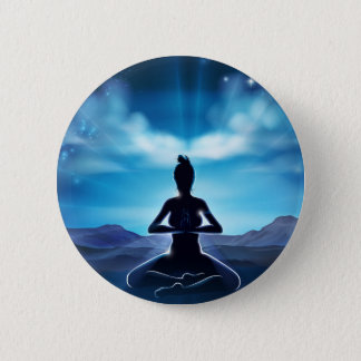 Yoga Pilates Pose-Silhouette-Frauen-Konzept Runder Button 5,1 Cm