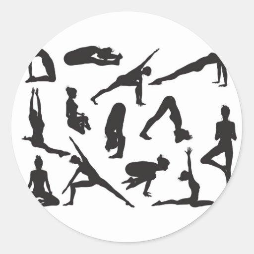 Yoga-Pose-Frauen-Silhouetten Stickers