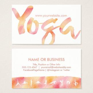 YOGA Pose-rosa Limonadewatercolor-Geschäfts-Karten Visitenkarte