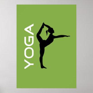 Yoga-Pose-Silhouette auf grünem Hintergrund Poster