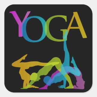 Yoga-Posen Quadratischer Aufkleber