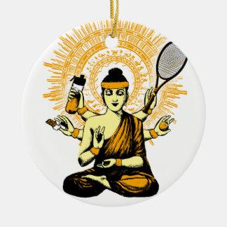 yoga Tennis Rundes Keramik Ornament