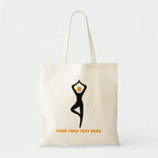 Yogabaum-Poseschwarzes, orange Gewohnheit Einkaufstaschen