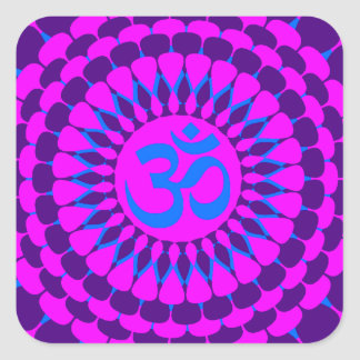 Yogarosa lila Mandala Quadrat-Aufkleber