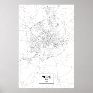 York, England (Schwarzes auf Weiß) Poster