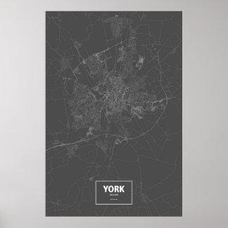 York, England (weiß auf Schwarzem) Poster