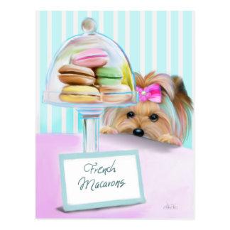 Yorkie Franzosen Macarons Postkarte