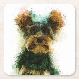 Yorkie/Haustier-Porträt Yorkshires Terrier Rechteckiger Pappuntersetzer