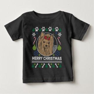Yorkie Hundezucht-hässliche Weihnachtsstrickjacke Baby T-shirt