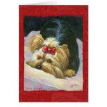 Yorkie Peekaboo-Kunst-Rot geprägt Karte