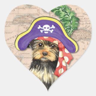 Yorkie Pirat Herz-Aufkleber