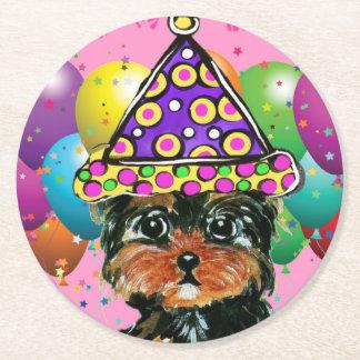 Yorkie Poo Party-Hund Runder Pappuntersetzer