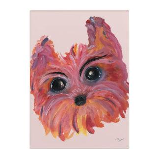Yorkie Pop-Kunst-Malerei im Rosa und in der Orange Acryldruck