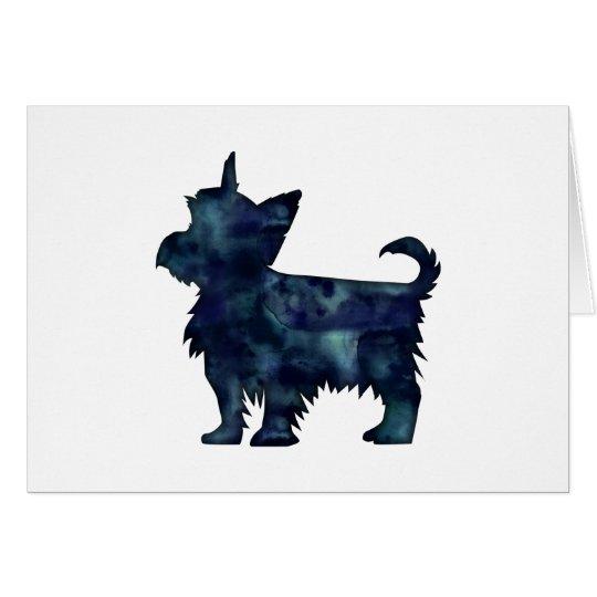 Yorkie Terrier-Schwarzeswatercolor-Silhouette Karte