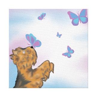 Yorkie und Schmetterlings-ursprünglicher Leinwanddruck