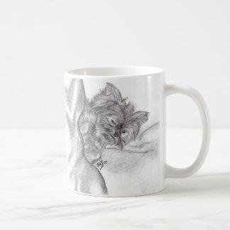 Yorkie Zeichnen Kaffeetasse