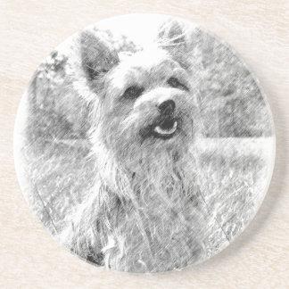 Yorkshire-Terrier-Bleistift-Zeichnen Sandstein Untersetzer