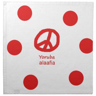 Yoruba-Sprache und Friedenssymbol-Entwurf Serviette