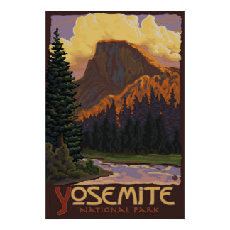 Yosemite Nationalpark - halbes Hauben-Reise-Plakat