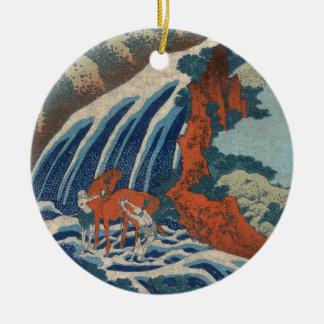 Yoshitsune Umarai Wasserfall bei Yoshino in Washū. Rundes Keramik Ornament
