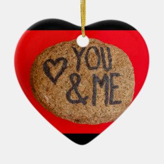 YOU&ME auf Herzverzierung Keramik Ornament