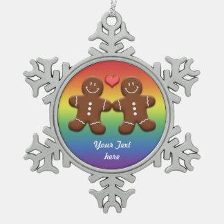 YourText Schneeflocken Zinn-Ornament