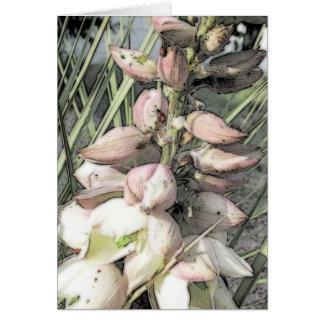 Yucca-Blüten-und Marienkäfer-Kunst Karte