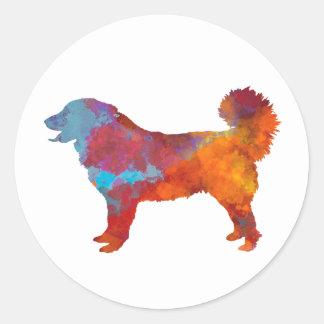 Yugoslavian Shepherd DOG im Watercolor Runder Aufkleber