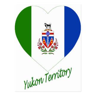 Yukon-Territoriums-Flaggen-Herz mit Namen Postkarte