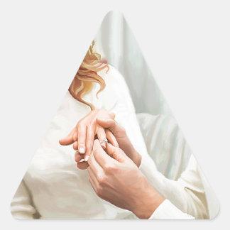 Yuletide Verlobung Dreieckiger Aufkleber