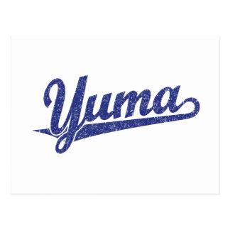 Yuma Skriptlogo im Blau beunruhigt Postkarte