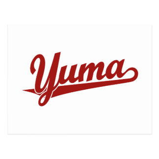 Yuma Skriptlogo im Rot Postkarte