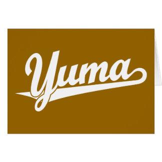 Yuma Skriptlogo im Weiß Karte