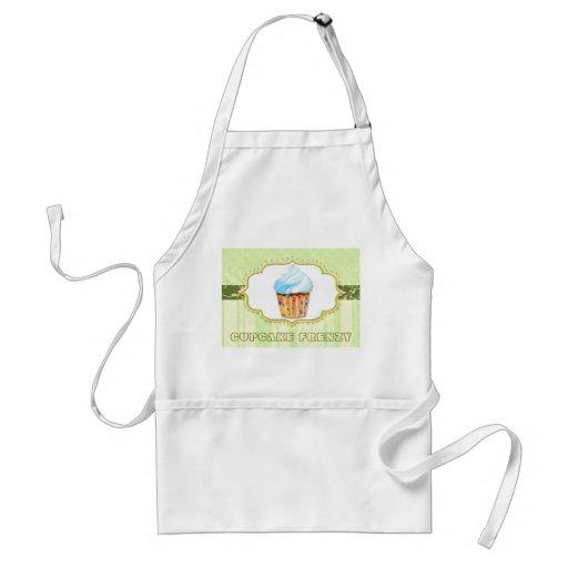 Yummy Bäckerei-Kuchen-Logo in den grünen Geschäfts Schürzen