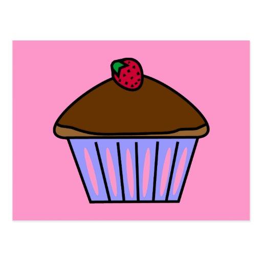 Yummy Schokoladen-kleiner Kuchen in rosa und in Li Postkarte