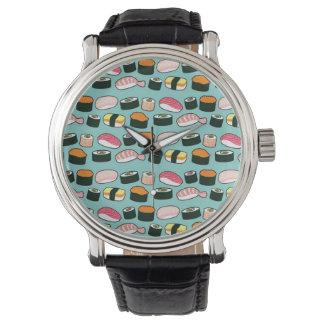 Yummy Sushi-Spaß-illustriertes Muster Uhr