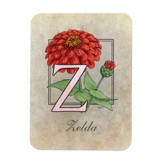 Z für Zinnias-Blumen-Monogramm Magnet