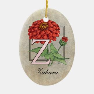 Z ist für Zinnias-Blumen-Monogramm Keramik Ornament