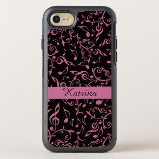 Zacken Sie auf schwarzem Musiknotenn Clefs iPhone OtterBox Symmetry iPhone 8/7 Hülle
