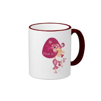 Zacken Sie es rosa Band aus Ringer Tasse