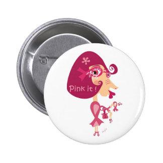 Zacken Sie es rosa Band aus Runder Button 5,1 Cm