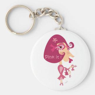 Zacken Sie es rosa Band aus Standard Runder Schlüsselanhänger