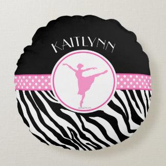 Zacken Sie Ihren Namenszebra-Druck-Ballett-Tänzer Rundes Kissen