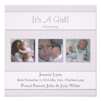 Zacken Sie sein eine Mädchen-Geburts-Mitteilung Quadratische 13,3 Cm Einladungskarte