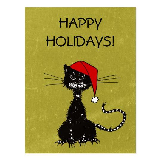 zackiges schwarze katze weihnachten postkarte zazzle. Black Bedroom Furniture Sets. Home Design Ideas
