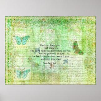 Zahl-6:24 - 26 Bibel-Vers-Segen mit Kunst Poster