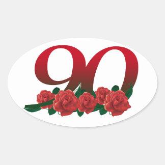 Zahl 90 oder 90. Geburtstag mit Blumen Ovaler Aufkleber